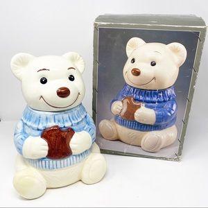 Vintage 1986 Fine Ceramic Teddy Bear Cookie Jar